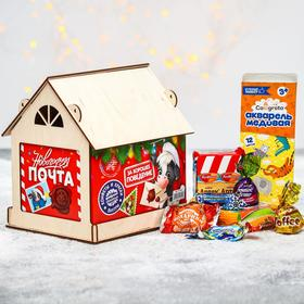 Сладкий детский подарок «Новогодняя почта»: конфеты 1000 г, краски 12 цветов, кормушка