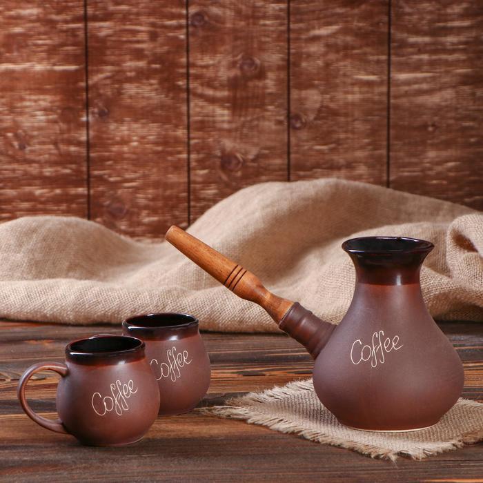 """Кофейный набор """"Coffee"""", 3 предмета, коричневый, 0.65/0.2 л"""