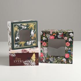 Набор коробок с PVC окном 3 в 1 «Тропики», 18 × 18 × 10‒22 × 22 × 12 см