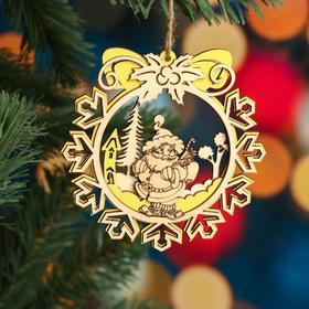 """Ёлочное украшение """"Снежинка"""", желтый блеск, под роспись, d=11 см"""