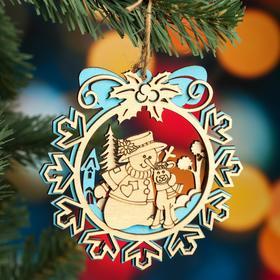 """Ёлочное украшение """"Снежинка"""", голубой блеск, под роспись, d=11 см"""