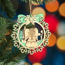 """Ёлочное украшение """"Снежинка"""", зеленый блеск, под роспись, d=11 см"""