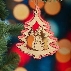 """Ёлочное украшение """"Дерево"""", розовый блеск, под роспись, d=10 см"""