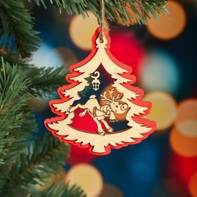 """Ёлочное украшение """"Дерево"""", красный блеск, под роспись, d=10 см"""