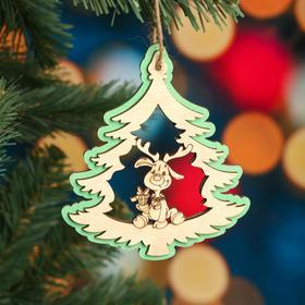 """Ёлочное украшение """"Дерево"""", зеленый блеск, под роспись, d=10 см"""