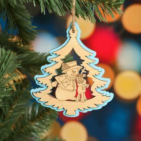 """Ёлочное украшение """"Дерево"""", голубой блеск, под роспись, d=10 см"""