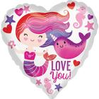 """Balloon foil 18 """"heart"""" Love you. The little mermaid and the narwhal)"""