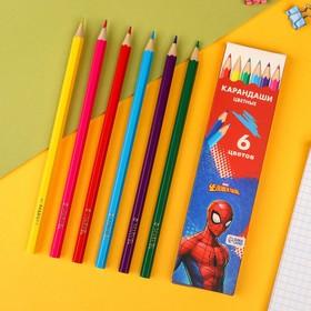 """Карандаши цветные, 6 цветов """"Супергерой"""", Человек-Паук"""