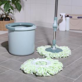 Набор для уборки «Мини»: ведро с металлической центрифугой 10 л, швабра, запасная насадка из микрофибры Ош