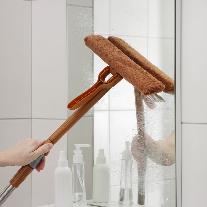 Window washer with telescopic steel handle, microfibre nozzle and silicone hood, 27×76 (105) cm