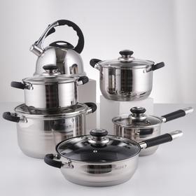 Набор посуды, 6 предметов: чайник 3,5 л, ковш d=16 см, кастрюли d=18, d=20, d=24 см, сковорода d=24 см, индукция