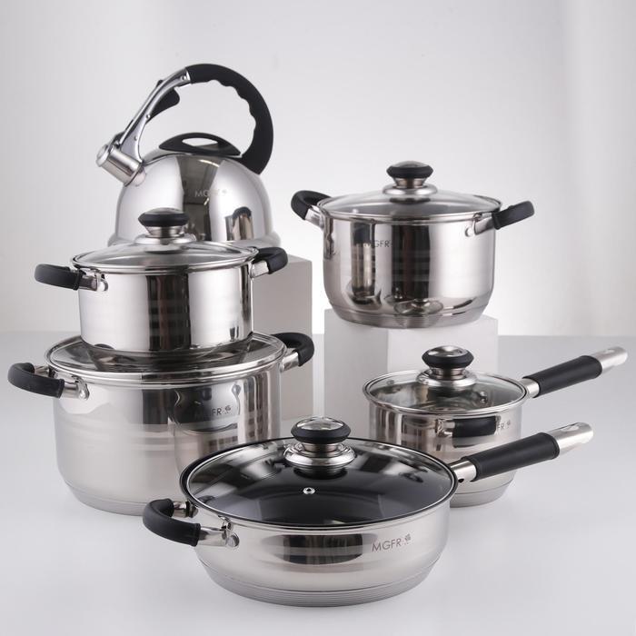 Набор посуды, 6 предметов: чайник 3,5 л, ковш d=16 см, кастрюли d=18, d=20, d=24 см, сковорода d=24 см, индукция - фото 282124654