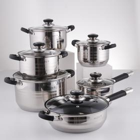 Набор посуды, 6 предметов: кастрюли d=16, d=18, d=20, d=24 см, ковш d=16 см, сковорода d=24 см, силиконовые ручки, индукция