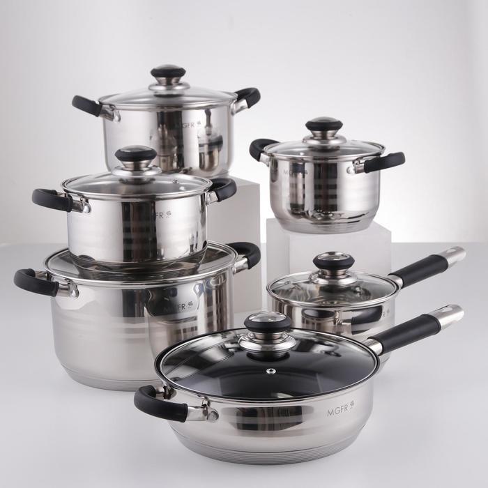 Набор посуды, 6 предметов: кастрюли d=16, d=18, d=20, d=24 см, ковш d=16 см, сковорода d=24 см, силиконовые ручки, индукция - фото 282124659