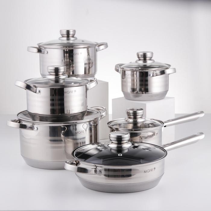 Набор посуды, 6 предметов: кастрюли d=16 см, d=18 см, d=20 см, d=24 см, ковш d=16 см, сковорода d=24 см, индукция - фото 282124664