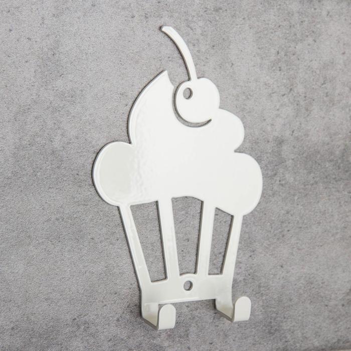 Вешалка интерьерная настенная на 2 крючка «Капкейк», для кухни, цвет молочный