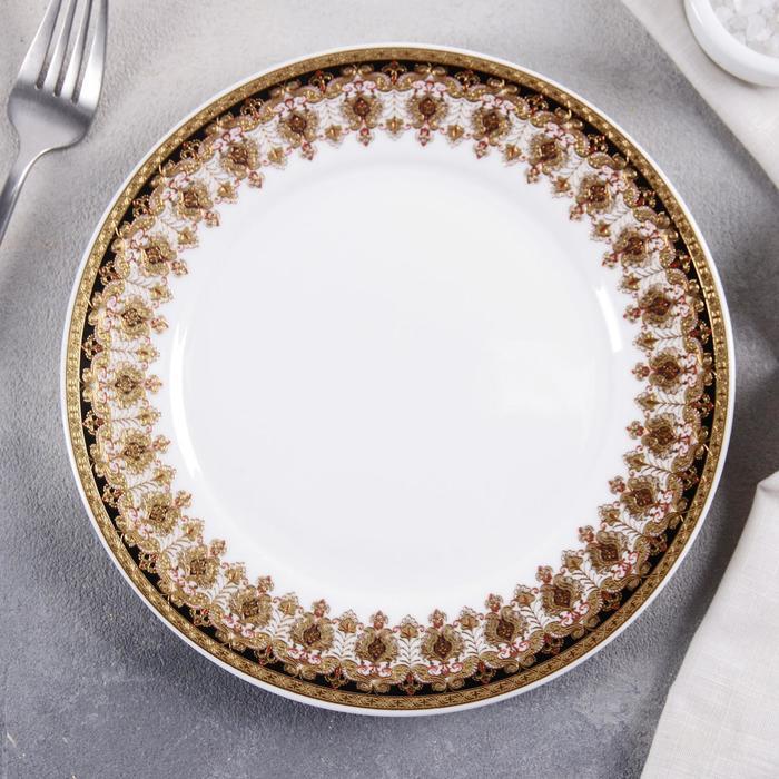Тарелка «Ишим», 20,3×1,2 см, цвет чёрный с золотом - фото 251397
