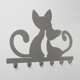 Вешалка интерьерная настенная на 6 крючков «Котята», цвет серый - фото 4641729