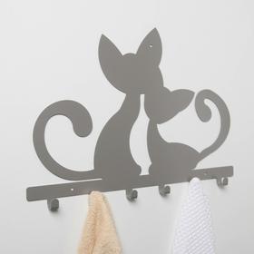 Вешалка интерьерная настенная на 6 крючков «Котята», цвет серый - фото 4641730