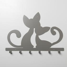 Вешалка интерьерная настенная на 6 крючков «Котята», цвет серый - фото 4641731