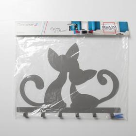 Вешалка интерьерная настенная на 6 крючков «Котята», цвет серый - фото 4641733
