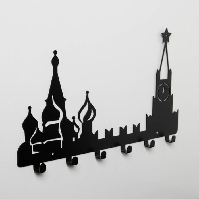 Вешалка интерьерная настенная на 6 крючков «Москва», цвет чёрный - фото 4641714
