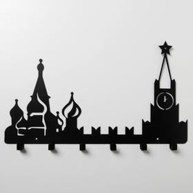 Вешалка интерьерная настенная на 6 крючков «Москва», цвет чёрный - фото 4641716