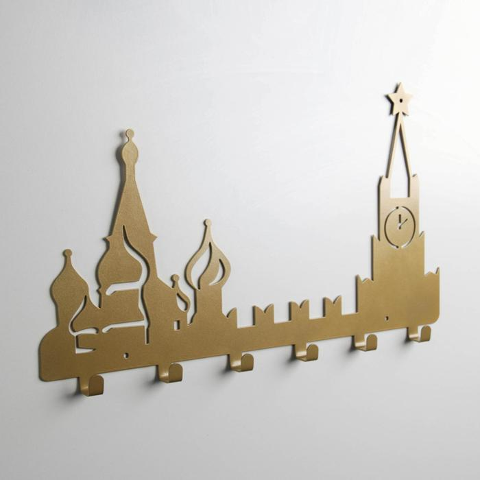 Вешалка интерьерная настенная на 6 крючков «Москва», цвет золотой - фото 4641694