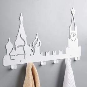 Вешалка интерьерная настенная на 6 крючков «Москва», цвет белый - фото 4641700