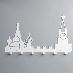 Вешалка интерьерная настенная на 6 крючков «Москва», цвет белый - фото 4641701