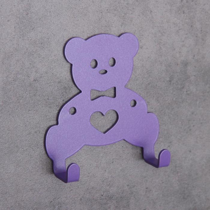 Вешалка интерьерная настенная на 2 крючка «Мишка», детская, цвет фиолетовый