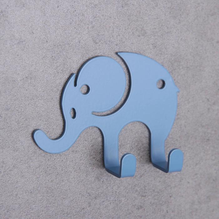 Вешалка интерьерная на 2 крючка «Слон», детская, цвет голубой