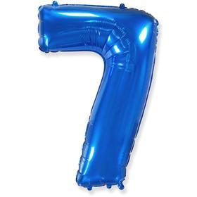 """Шар фольгированный 40"""" цифра """"7"""", синий,  в упаковке"""