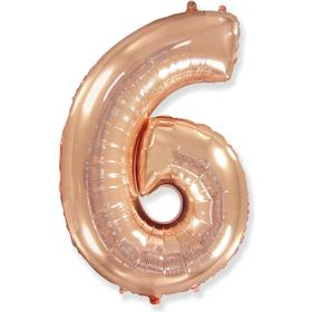 """Шар фольгированный 40"""" «Цифра 6», розовое золото, в упаковке"""