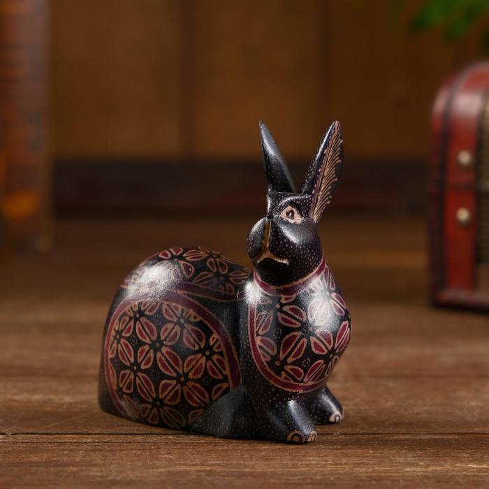 """Интерьерный сувенир """"Расписной кролик"""" дерево, батик 10 см"""