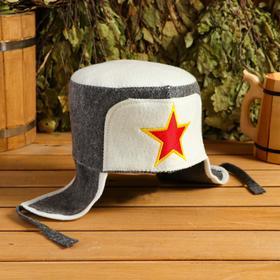 "Банная шапка-ушанка ""Звезда"", серая"