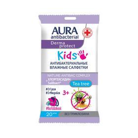 Влажные салфетки AURA, детские 3+, 20 шт.
