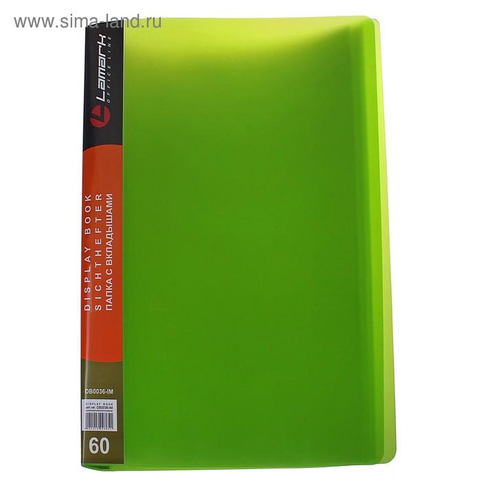 Папка с 60 прозрачными вкладышами А4, 800мкм, iMac, флюоресцентная зелёная, полупрозрачная
