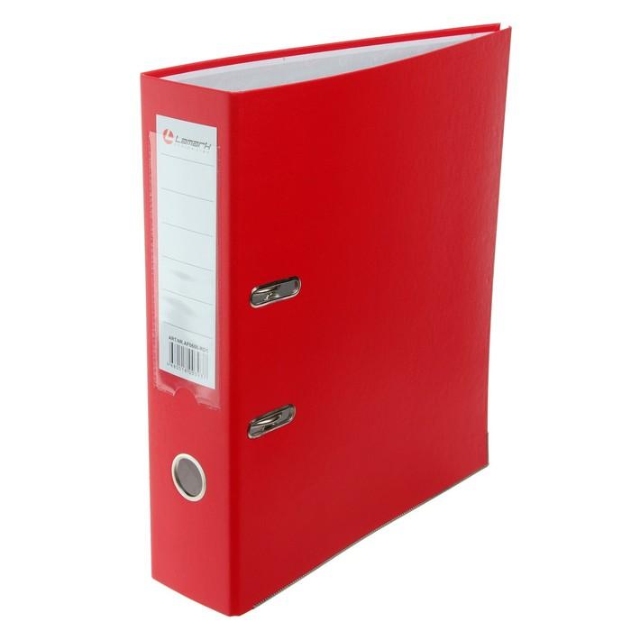 Папка-регистратор А4, 80мм Lamark ПП, металлический уголок, Красная