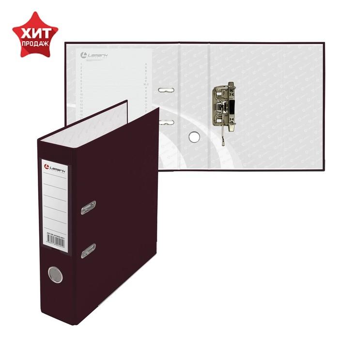 Папка-регистратор А4, 80мм Lamark ПП, металлический уголок, Бордо