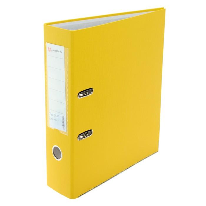 Папка-регистратор А4, 80мм Lamark ПП, металлический уголок, Желтая