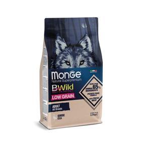 Сухой корм Monge Dog BWild LOW GRAIN низкозерновой для собак, из мяса гуся, 2,5 кг
