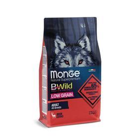 Сухой корм Monge Dog BWild LOW GRAIN низкозерновой для собак, из мяса оленя, 2,5 кг