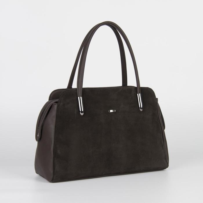 Сумка женская, отдел на молнии, наружный карман, цвет коричневый - фото 53594