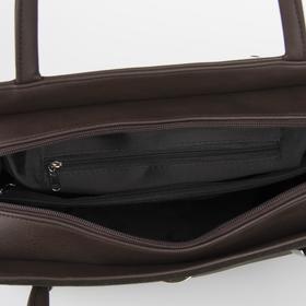 Сумка женская, отдел на молнии, наружный карман, цвет коричневый - фото 53596