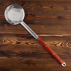 Шумовка для казана узбекская 58см, диаметр 16см, с деревянной ручкой