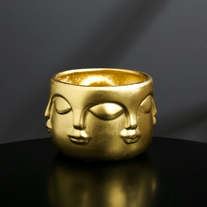 Кашпо-голова из гипса «Муза», цвет золотой, 11.5 × 9 см