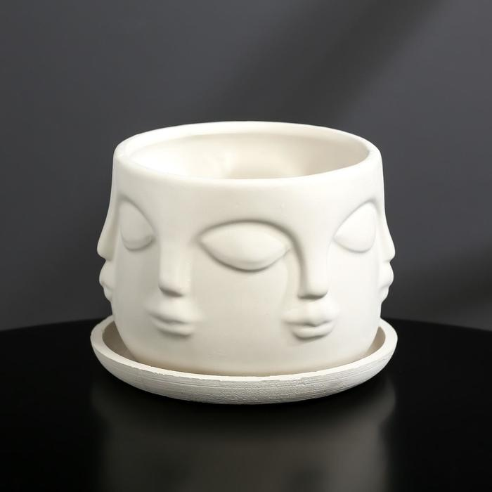 Кашпо-голова из гипса с поддоном «Муза», цвет белый, 11.5 × 9 см
