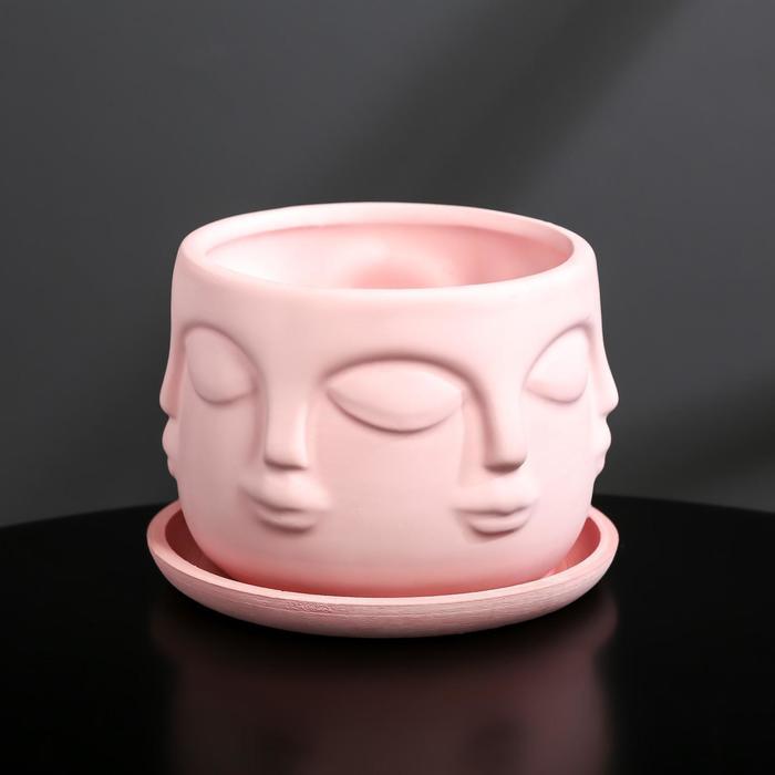Кашпо-голова из гипса с поддоном «Муза», цвет розовый, 11.5 × 9 см