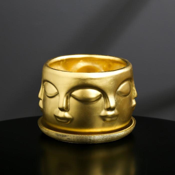 Кашпо-голова из гипса с поддоном «Муза», цвет золотой, 11.5 × 9 см
